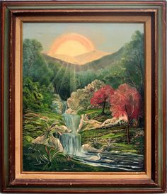 """Wonderful mystical landscape painting of the sun rising over a waterfall by Visionaryartist Joseph Parker (American, 1930-2009). Rustic wood frame, unsigned, name printed on verso. Image, 20""""H x 16""""L. Framed size: 26""""H x 22""""W. Available on 1stdibs.com under Robert Azensky Fine Art."""