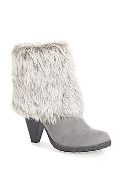 Grey Mandy furry cuff bootie. other color: brown. *plus size