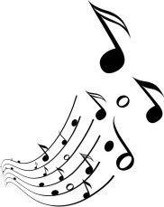Notas Musicais - Adesivo com uma escala de notas musicais em preto