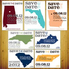 States Save the Date: Personalized postcard. Get it at their Etsy shop: http://www.etsy.com/shop/dhfitzgeralddesigns?ref=top_trail