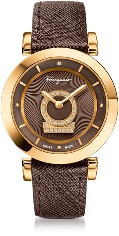 Salvatore Ferragamo Minuetto Gold IP Stainless Steel Case and Brown  Saffiano Leather Strap Women s Watch w Diamonds bb91302dc549