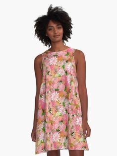 Pink Colorful Floral Pattern A-Line Dresses