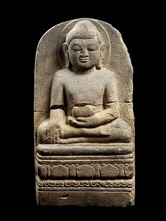 Buddha Calling the Earth to Witness. 9th century. Central Myanmar. Sandstone.   http://www.metmuseum.org/exhibitions/view?exhibitionId=%7b9A312299-72C2-49CD-9AFC-DE56BDFCF6BD%7d&oid=77787&pg=3&rpp=20&pos=47&ft=*