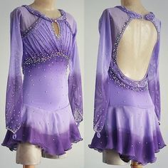 Lilac figure skating dress airbrushed to eggplant purple.