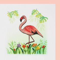 Hancrafted Renaissance Paper Quilling Quilled Card 6x6 Flamingo Filigree Design | eBay