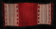 Africa | This beautiful red wool Tunisian kitfeya was worn around the shoulders of the women in times past. It has cream cotton woven designs and some black woven striped background