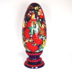 """Ukrainian Petrykivka Wooden Pysanka Egg on Stand 8"""""""