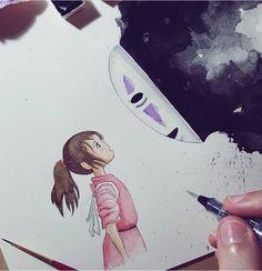 Cool Art Drawings, Art Sketches, Drawing Art, Personajes Studio Ghibli, Chihiro Y Haku, Studio Ghibli Art, Ghibli Movies, Geek Art, Totoro