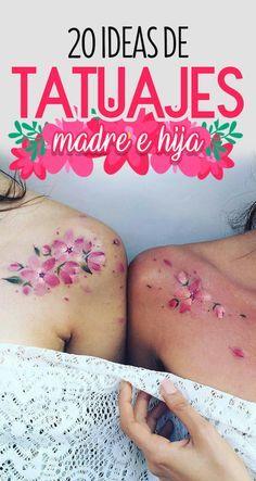 20 Ideas de tatuajes madre e hija. Id… – tatowieren Best Friend Tattoos, Mom Tattoos, Cute Tattoos, Flower Tattoos, Print Tattoos, Small Tattoos, Sleeve Tattoos, Tattoos For Guys, Tattoos For Women