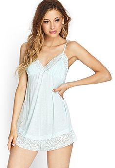 54de9a559376 Dots and lace sleep romper Forever 21 Pajamas