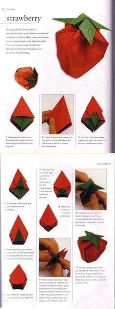 Paper craft strawberry origami
