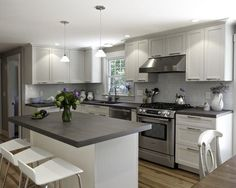 White Kitchen Cabinets With Dark Grey Countertops 3523 Home And