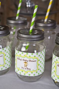 Jungle Water Bottle Labels Baby Shower- Brown & Green