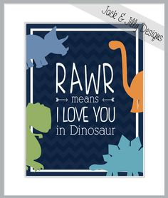 RAWR Means I LOVE You in DINOSAUR - 8x10 Print - Colours can be customized to match any room's decor - Navy Blue - Lime Green - Chevron