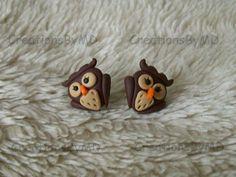 owl stud earrings polymer clay fimo handmade di CreationsbyMD, $4.00