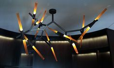 Funky Chandelier   Tapered Solid Amber Acrylic Ends   iWorks