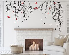 Decal #6258Vinesand Birdsare cut individually. You can position them in any pattern you like.Simple but perfect way to decorate any room in the home.Pick the Tree color and Birds color.Color A = Select BranchColorColor B = Select Bird an...
