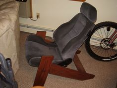 Old car seats as furniture thread! Man Cave Furniture, Car Part Furniture, Automotive Furniture, Automotive Decor, Coffee Shop Interior Design, Barber Shop Decor, Car Chair, Old Car Parts, Bedroom Chair