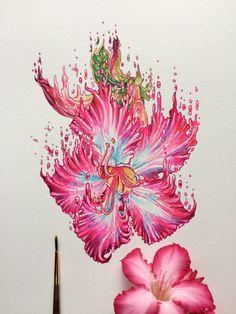 ink & watercolor desert rose