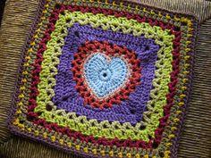 "Center Heart Square by Ginger Badger   Crochet.12"" FREE square pattern on Ravelry."