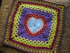 "Center Heart Square by Ginger Badger   Crochet.12"" FREE square pattern on Ravelry."