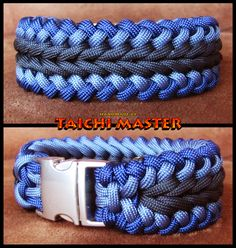 Blue and Black Wide Sanctified Bracelet (or nose band? Paracord Weaves, Paracord Braids, Paracord Knots, 550 Paracord, Paracord Bracelets, Paracord Projects, Macrame Projects, Paracord Tutorial, Parachute Cord