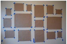 Use parchment paper and painters tape to get the layout just right BEFORE drilling holes in the walls. I have seen this before but they traced the frames and put up a whole sheet with the outlines and hangers rather than individual cut outs