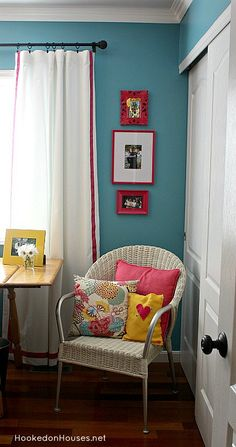 Home office of Hooked on Houses blog.  Lovely color.  Details at: http://hookedonhouses.net/2013/05/22/before-after-after-my-home-offices-latest-makeover/