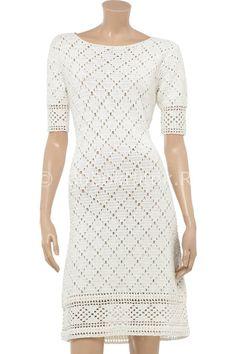 Филейное платье с бордюром   Вязание для женщин   Вязание спицами и крючком. Схемы вязания.