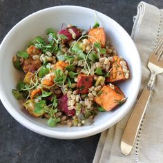 Roasted sweet potato and farro salad!  It's the perfect winter salad because it's savory, sweet and nutty all at once.