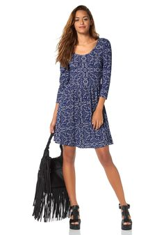 AJC Jerseykleid im Online Shop von Ackermann Versand #Mode #Fashion Paisley, Cold Shoulder Dress, Rock, Casual, Blue, Shopping, Dresses, Fashion, Cotton