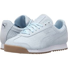 PUMA Roma Emboss Forest (Omphalodes/Gum) Women's Shoes ($50) ❤ liked