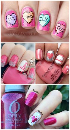 Adorable Valentine's Day Nail Ideas (Find conversation hearts, love, xoxo, stripes, and more nail designs!) | CraftyMorning.com