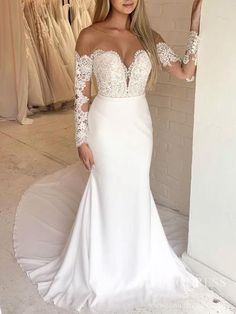Simple mermaid wedding dress with lace appliqued bodice. - Mermaid wedding dress - Lace bodice - Off the shoulder - Nude bateau neckline - Plunging V sweetheart neck - Built-in-Bra Slit Wedding Dress, Wedding Dresses With Straps, Sweetheart Wedding Dress, Formal Dresses For Weddings, Lace Mermaid Wedding Dress, Country Wedding Dresses, New Wedding Dresses, Cheap Wedding Dress, Bridal Dresses
