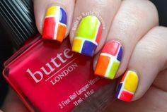 Nails by Kayla Shevonne: Bold Colour Block Nails - butter LONDON Colour Clash Nail Art