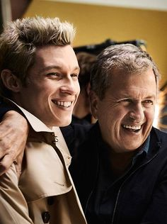 Mario Testino and Callum Turner on the set of the Burberry 2016 campaign. One iconic photographer, one iconic trench coat.
