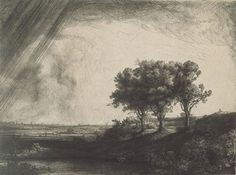Rembrandt Says Dont Take It Slow - ArtistDaily. The Three Trees by Rembrandt, 1643, etching with burin drypoint in black ink on cream laid paper, 8 x 11.