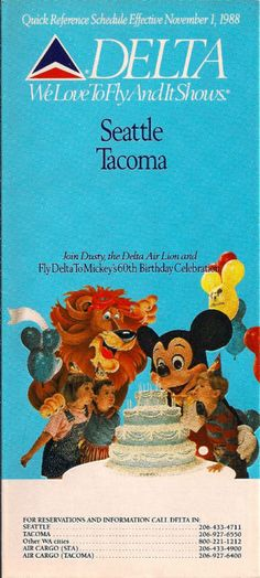 Delta Air Lines 1988 Timetable Mickey's 60th Dusty Lion | eBay