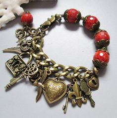 Charm Bracelet with Sponge Corall and Brass by nina68 on Etsy, $52.00