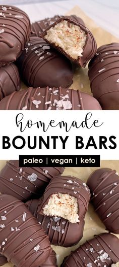 This homemade bounty bars recipe is a healthy spin on the classic mounds candy bars. They have a shredded coconut and coconut cream filling that's shaped, chilled and then coated in dark chocolate. They're a healthy (and delicious) alternative to your favorite coconut candy bar! #bountybars #moundsbars #candybarrecipe Egg Free Desserts, Coconut Desserts, Easy To Make Desserts, Dessert Recipes, Paleo Chocolate, Chocolate Recipes, Coconut Candy Bars, Mounds Candy, Healthy Candy