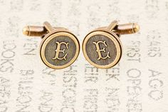 Letter cufflinks, monogram cufflinks, custom initial cufflinks, wedding cufflinks, grooms mens gifts, made to order, featuring gorgeous antiqued $35