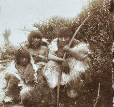 Selknam people, Family photographed by Esteban Lucas Bridges in Harberton, Tierra del fuego, circa 1890