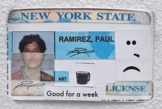 """Make a new ID with copies of your old ones at the #paulramirezjonas exhibition, """"Half-Truths."""" Visitors are invited to work with a facilitator to deconstruct photocopies of their school IDs, transportation passes, credit cards, and licenses, creating a new self-determined identity within the limits of state and corporate data. .  Paul Ramírez Jonas, Fake-ID, 2017 (detail). Installation and performance. Courtesy of the artist"""