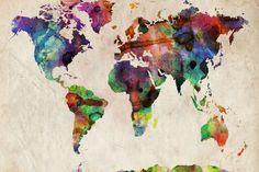 World Map Urban Watercolour Impressão em tela esticada por Michael Tompsett na AllPosters.com.br