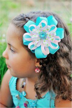 Pretty Flower Ribbon Hair Bows at TheFrugalGirls.com #ribbon #crafts