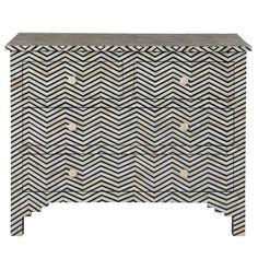 Herringbone Chest of Drawers - Chest of drawers with patterned bone inlay in herringbone design