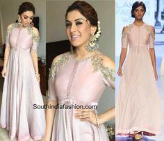 Hansika in pale pink Anushree Reddy Anarkali at Manithan movie promotions