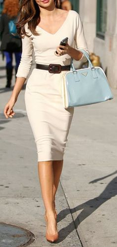 Ivory V-Neck Sheath Dress - My post-baby body wouldn't do well with this, but I love this STYLE (very Sophia Loren)