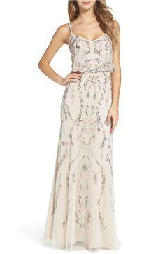 Main Image - Adrianna Papell Mesh Blouson Gown (Regular & Petite)