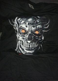 tshirt stampata cyborg skull tshirt teschio androide